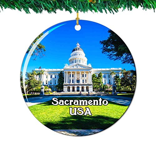 - Weekino California State Capitol Museum Sacramento America USA Christmas Ornament City Travel Souvenir Collection Double Sided Porcelain 2.85 Inch Hanging Tree Decoration