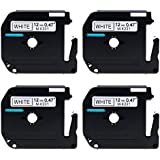 """Labelkingdom 4 Pack Compatible M231 M-K231 MK231 M Tape Black on White 12mm(1/2"""") Width 8m(26.2ft) Length Replace for Brother P-Touch Printers ( CA-M231 4PK)"""