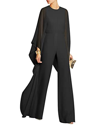 4075116a267d Engood Women s Jumpsuits Soild Cape High Waist Loose Long Wide Leg Jumpsuits  Romper Black S