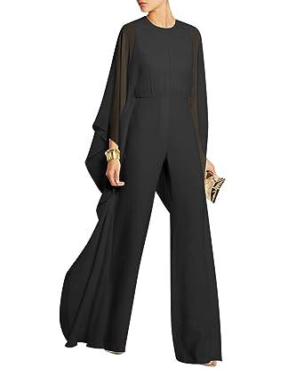 7061a5cfde0 Engood Women s Jumpsuits Soild Cape High Waist Loose Long Wide Leg Jumpsuits  Romper Black S