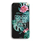 Aloha Love Summer Tropical Colorful Hawaii Floral Clear Rubber Case for iPhone 7 Case -Good Vibes Only Palm Tree Beach Floral Rose Girl iPhone 7 Girl Case