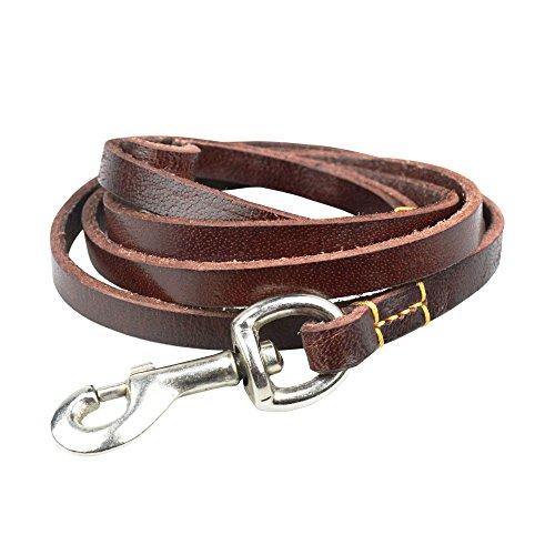 illu Leather Dog Training Leash 6 ft Length x 3/4 Inch Wide Dog Walking Leash Best for Medium Large Dogs, Latigo Leather Dog Lead & Dog Trainer Leash for Puppy (Latigo Brown Wood)