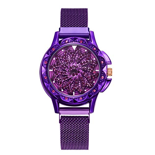 - Classic Round Analog Watch Artificial Leather Band 360 Degree Rotating Fashion Diamond Dial Ladies Quartz Mesh Belt Watch(Purple )