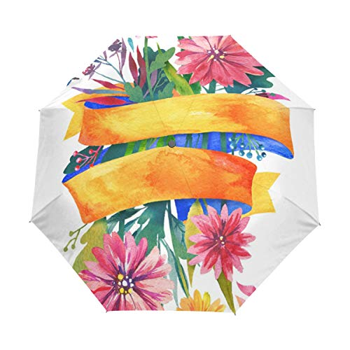 (Watercolor Tuft Of Flowers Compact Travel Umbrella Automatic Waterproof Reinforced Canopy for Men and Women Traveler)