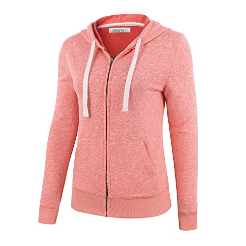 10 Cotton Oz Crewneck Sweatshirt - Vetemin Women Basic Soft Zip Up Terry Long Sleeve Pocket Hoodies Sweater Jacket Pink Melange XS