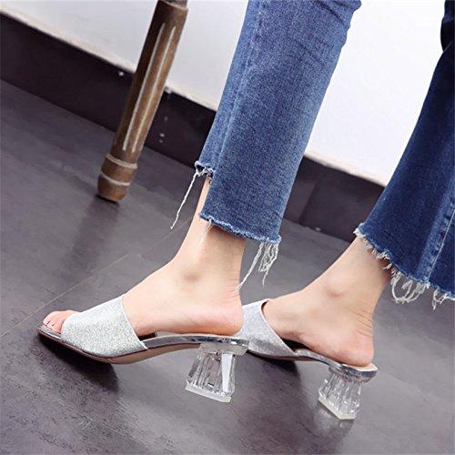 Drag Mezzo Dei Drag Forte 6Cm KPHY silvery Dita Tacco Tacco Dura Il Trasparente Pantofole Alti Piedi Scarpe Trapano Con Tacchi a0R0U1pW