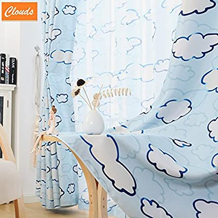 FADFAY Designer Cloud Curtain Blue Clouds Curtains For Children