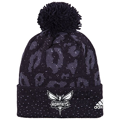 (NBA Charlotte Hornets Women's Black Out Print Cuffed Knit Beanie, One Size,)