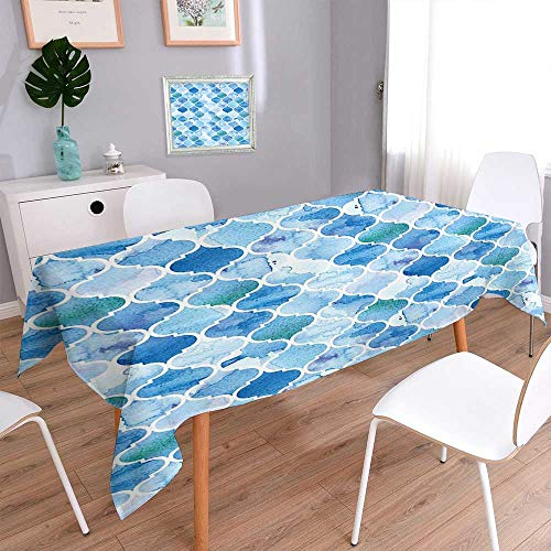 Rectangular Polyester Polyester Tablecloth Arabic Mosaic Pattern in Watercolor Paint Retro Style Islamic Artwork Light Blue Spillproof Tablecloth 60''x84'' by L-QN
