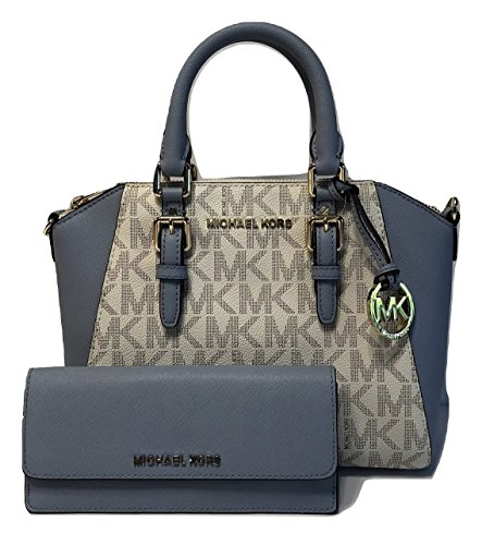 Michael Kors Ciara MD Messenger Handbag bundled with Michael Kors Jet Set Travel Flat Wallet (Signature Vanilla/Pale Blue)