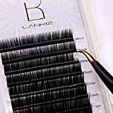 LANKIZ Eyelash Extension D Curl 0.15mm Faux Mink Individual Lash Extensions Mixed Tray Black Volume Eyelash Extension Supplies Salon Perfect Use.