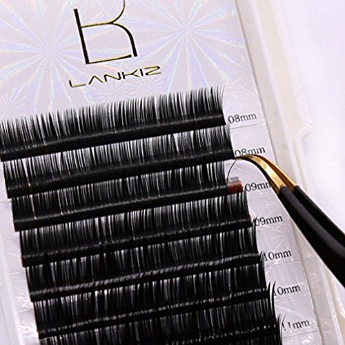 LANKIZ Eyelash Extension D Curl 0.15mm Faux Mink Individual Lash Extensions Mixed Tray Black Volume Eyelash Extension Supplies Salon Perfect Use.