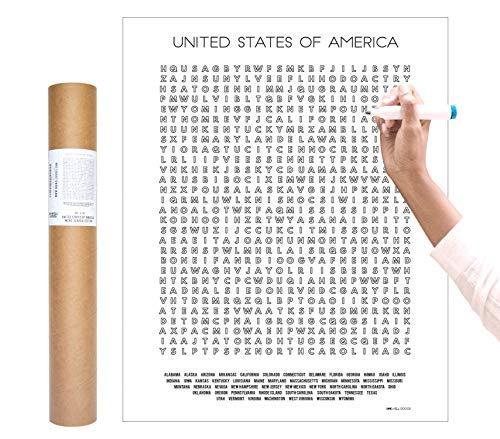 Inkwell Goods US Travel Checklist Coloring Word Search Poster + Activity Print | Home Decor Wall Art. Gift for Adventure Traveler | Used for Educational + Learning | Made in USA 16 x 20 inches (Best Way To Hang Posters In Classroom)