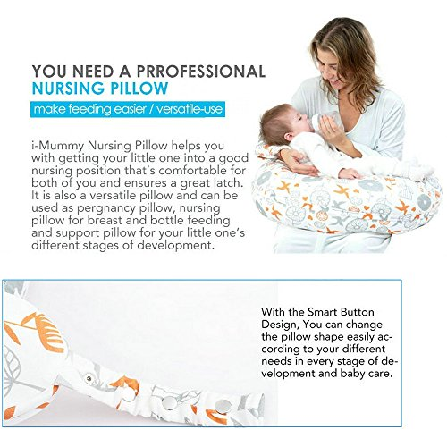 i-baby 4 in 1 Cotton Knitted Cover Breast Feeding Pillow Nursing Pillow Maternity Pregnancy Support Pillow Multi-Functional Baby Cushion (Birds) by i-baby (Image #1)