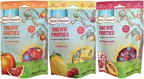 Torie and Howard 3 Pack Chewie Fruities Candy - Lemon Raspberry, Blood Orange, Pomegranate - Honey Nectarine