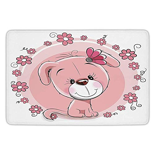 NEWPAI Withy Doormat Dog,Cute Little Puppy with Daisy Flowers Cheerful Adorable Pet Girls Room Decor,Light Pink Coral White,Flannel Microfiber Non-Slip Soft Absorbent 24 x 16 Inch