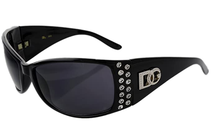3d139dfb11a3 Image Unavailable. Image not available for. Color  Ladies Rhinestone  Sunglasses Dg Eyewear Black 2618 with Micro Fiber Bag 100% UVB Protection