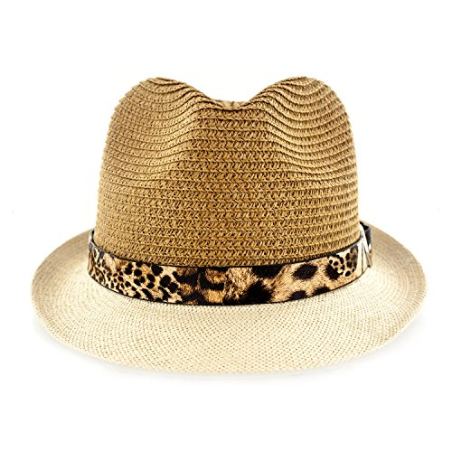 Faddism Fashion Fabric Straw Weave Fedora Hat With Leopard Leather And Silver Buckle Trim