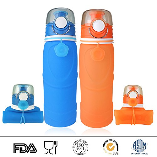 Vitanz Collapsible Water Bottle - Silicone Leak Proof Valve - Medical Grade - BPA Free, 26 Ounces 750ml, Set of 2 Pack Blue and Orange