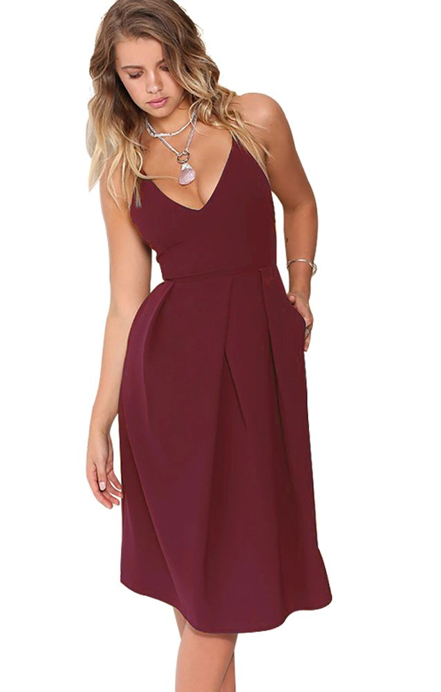 Eliacher Women's Deep V Neck Adjustable Spaghetti Straps Summer Dress Sleeveless Sexy Backless Party Dresses with Pocket (L, Wine)