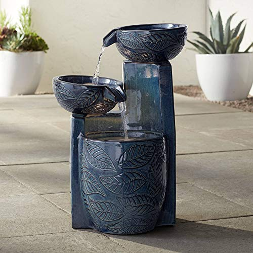 "John Timberland Summer Leaves Indoor Outdoor Floor Water Fountain with Light LED 26"" High Cascading Bowls for Yard Garden Patio Deck Home"