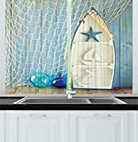 Ambesonne Nautical Decor Kitchen Curtains, Sea Objects on Wooden with Vintage Boat Starfish Shell Fishing Net Photo, Window Drapes 2 Panels Set for Kitchen Cafe, 55 W X 39 L Inches, Blue White