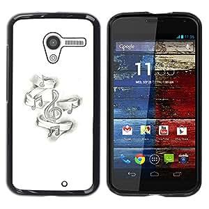 YOYOYO Smartphone Protección Defender Duro Negro Funda Imagen Diseño Carcasa Tapa Case Skin Cover Para Motorola Moto X 1 1st GEN I XT1058 XT1053 XT1052 XT1056 XT1060 XT1055 - nota de la música negro piano blanco de