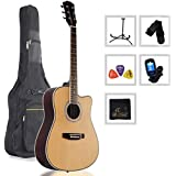 Acoustic Guitar 41-Inch Full Size Spruce Cutaway with Bag, Stand, Tuner, Picks, Strap (Natural)