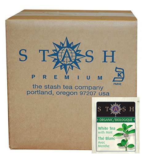 Stash Tea Organic Tea Bags in Foil, White Tea with Mint, 100 Count (packaging may vary) (Tea Christmas White)
