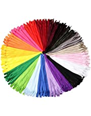 SUMAJU 100 Pcs Nylon Zippers, 7.8 Inch Zippers Coil Zippers for Sewing Crafts 20 Assorted Colors