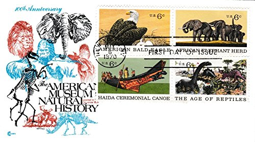 Stamp Block First Day Cover - United States Scott 1387-1390 6c Bald Eagle, 6c Elephants, 6c Haida Canoe and 6c Dinosaurs Natural History Se-Tenant Block 1970 New York, N.Y. First Day of Issue. Cover Craft cachet. Unaddressed.