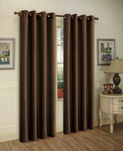 2 Piece Solid Coffee Brown Faux Silk Grommet Curtain Panel 58 by 84 Inch