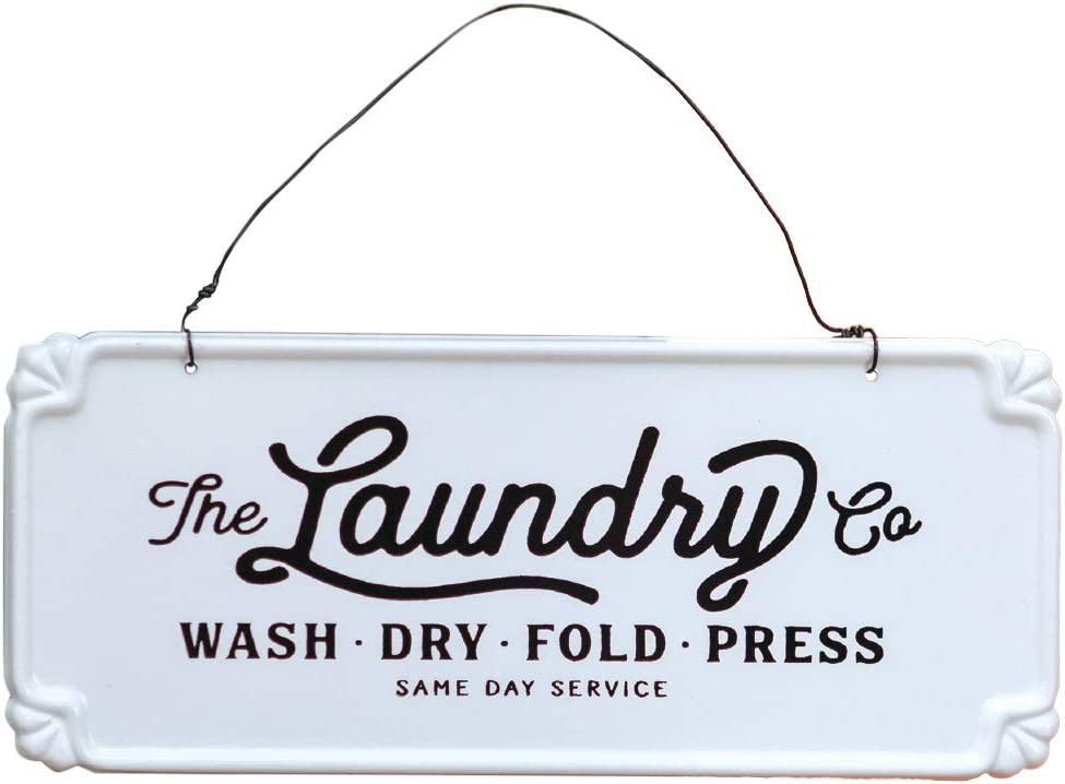 Laundry Co. Small Hanging Vintage Farmhouse Metal Sign for Laundry Room Decor