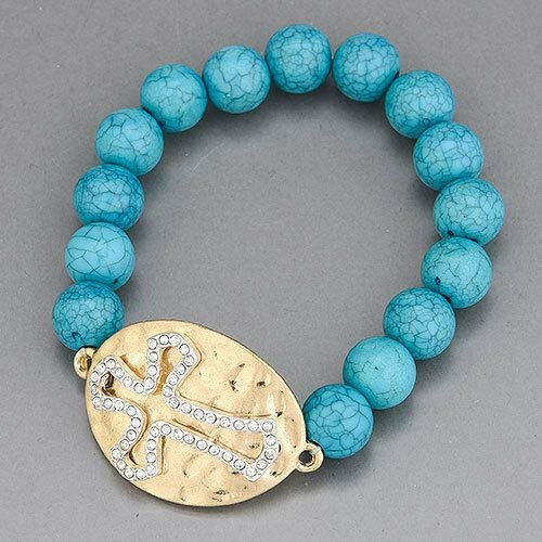 - Turquoise Bead Hammered Gold Oval Plate Silver Cross Encrusted Stones Bracelet LL-6097