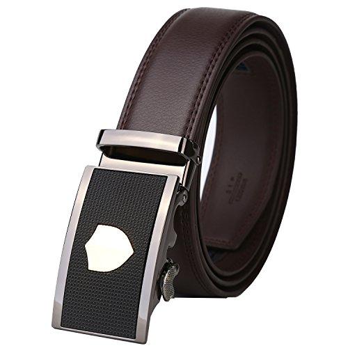Dante Men's Leather Ratchet Dress Belt with Automatic Buckle, Elegant Gift Box (Custom Made Belt Buckles)
