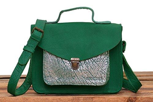MARIUS Verde vintage de estilo Selva pequeño bolso Plata GEORGE de PAUL MADEMOISELLE cuero STqfwUw