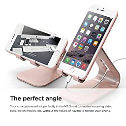elago® M2 Stand [Rose Gold] - [Premium Aluminum][Angled for Video Calls][Cable Management] - for all iPhones, Galaxy, and other Smartphones