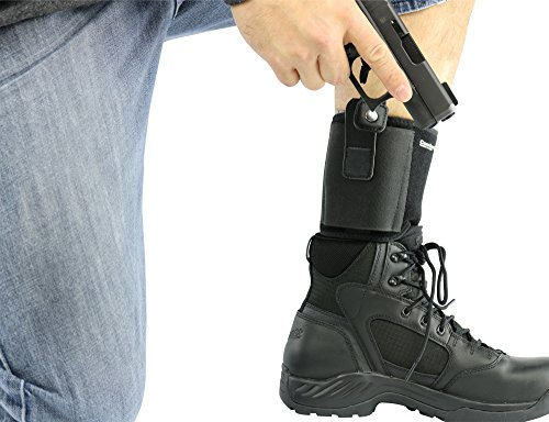 "Ultimate Ankle Holster For Concealed Carry by ComfortTac | Fits Glock 42, 43, 36, 26, Smith and Wesson Bodyguard .380, .38, Ruger LCP, LC9, Sig Sauer, and Similar Guns (15"" Band Fits Up To 13"" Leg)"