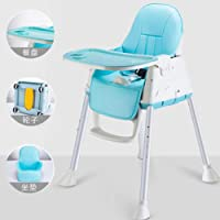 阿优威 宝宝餐椅 婴儿吃饭椅子 便携式饭桌可拆卸餐桌椅多功能安全座椅儿童餐椅 (天蓝色, (带轮子+PU皮坐垫))