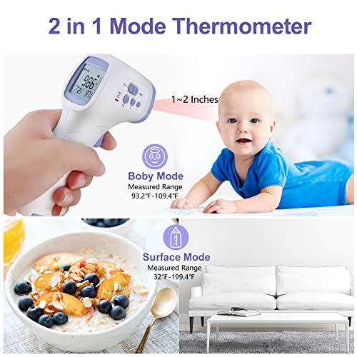 Forehead Thermometer for Adults, Touchless Non Contact Infrared Thermometer for Baby, Kids, Adults Surface 1-Second Temperature Measurement (Purple)
