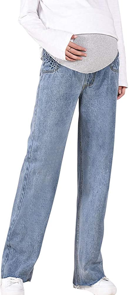 Xiedeai Maternity Jeans for Women Ladies Pregnancy Jeans Over The Bump Pants Adjustable Waistband Denims Trousers Casual