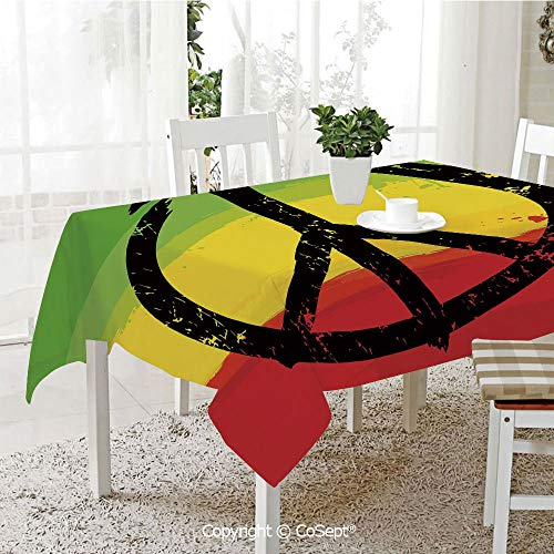 - Spillproof Tablecloth,Grunge Style Watercolor Design African Flag Colors Hippie Peace Sign Decorative,Table cloth for Kitchen Dinning Tabletop Decoration(60.23