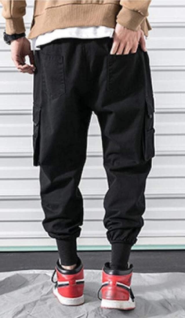 X-Future Men Plain Casual Drawstring Relaxed Fit Multi-Pockets Jogging Cargo Pants