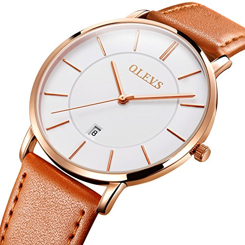 Mens Ultra Thin Minimalist Watches on Sale, Business Gift Casual Wrist Watch with Yellow Tan Brown Leather Strap White Dial Watches, Date Water Resistance Watch, 2019 Brand Valentines Gift for His