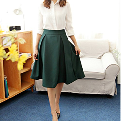 Fonc FuweiEncore Longue vase Jupe Genoux Pliss Mi Casual aux Haute Elastique Taille Jupe Vert Femme Patineuse xqqwfS4aZ