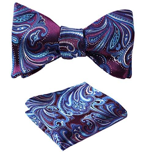 l Jacquard Woven Self Bow Tie Set One Size Purple / Blue (Jacquard Bow)