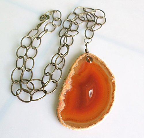 Brass Yellow Necklace - Agate Slice Orange Necklace On Brass Chain