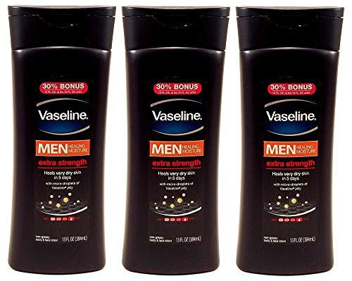 Vaseline Men Healing Moisture Extra Strength Body & Face Lotion, 13 Ounces (Pack of 3)