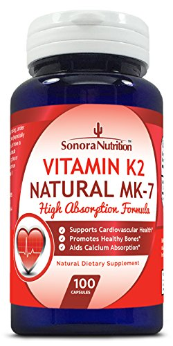 Sonora Nutrition Vitamin K2 Natural MK-7 High Absorption Formula 100 mcg, 100 Capsules