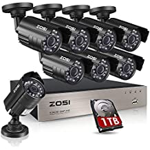 ZOSI 8-Channel FULL 1080P HD-TVI Video Security System CCTV DVR 1TB Hard Drive + 8 Indoor/Outdoor 2.0MP 1920TVL Weatherproof Surveillance Security Camera System, Smartphone, PC Easy Remote Access